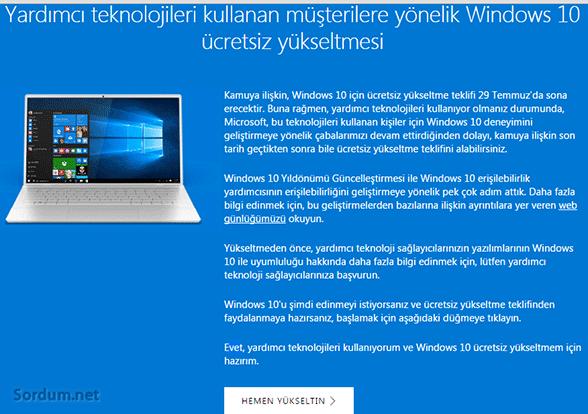 yardımcı araç kullananların windows 10 yükseltmesi devam ediyor