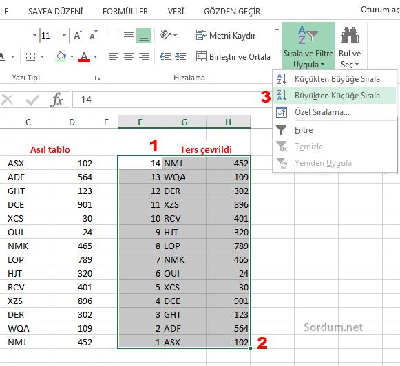 Excel de tabloyu sondan başa sıralamak