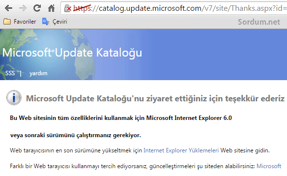 Ms update katalog hatası
