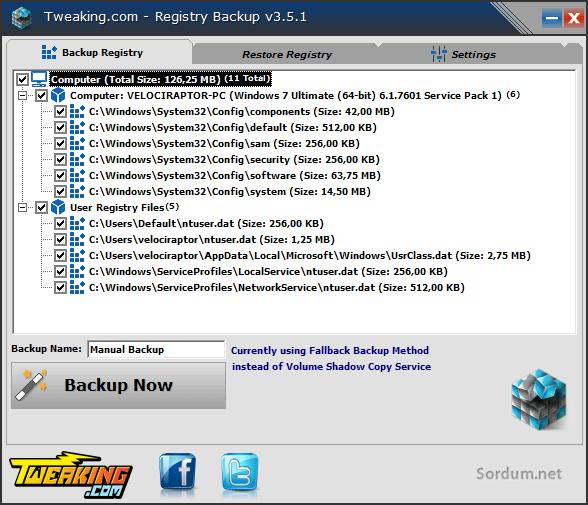 registry yedekleme