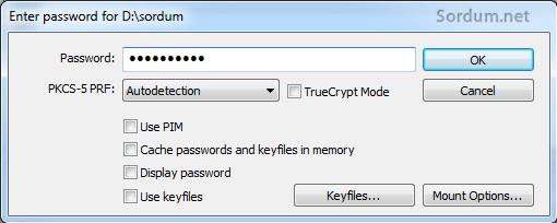 vera crypt şifre ekranı