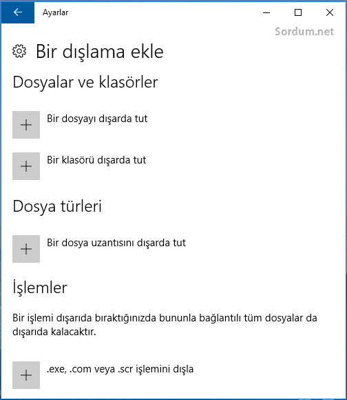 windows defendere dışlama ekle