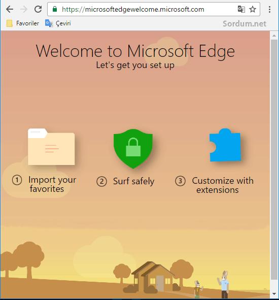 Microsoft EDGE hoşgeldiniz sayfası