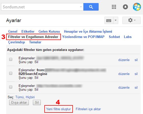 Gmail yeni filitre oluştur