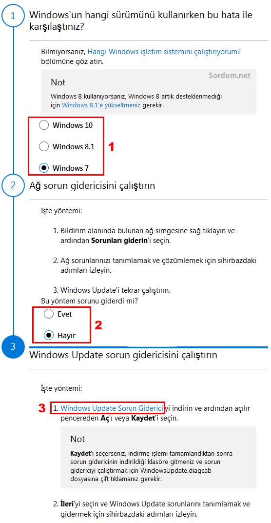 Windows güncelleme sorun giderme adımları