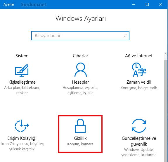 Windows 10 gizlilik ayarları