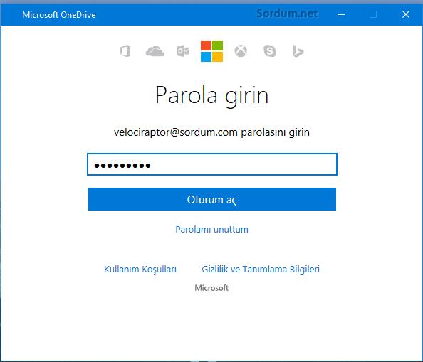 OneDrive şifre ekranı