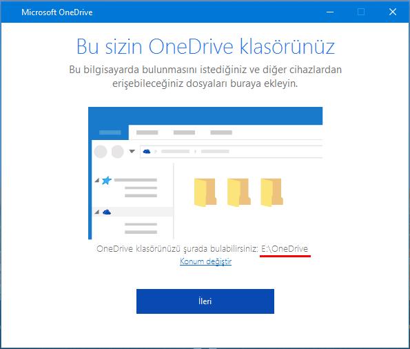 OneDrive Klasör konumu değiştir