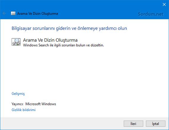 Microsoft Arama ve dizin onarma