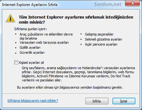 internet explorer ayarları sıfırla