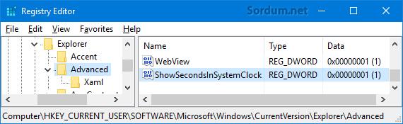 windows saatine saniye ilavesi