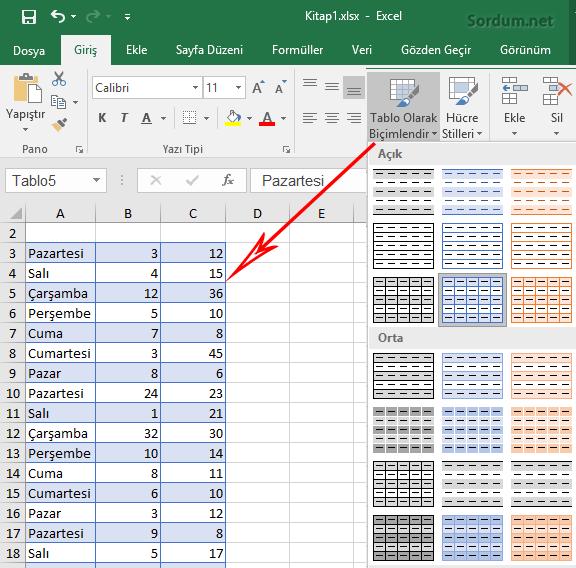 Excel Tablo olarak biçimlendir