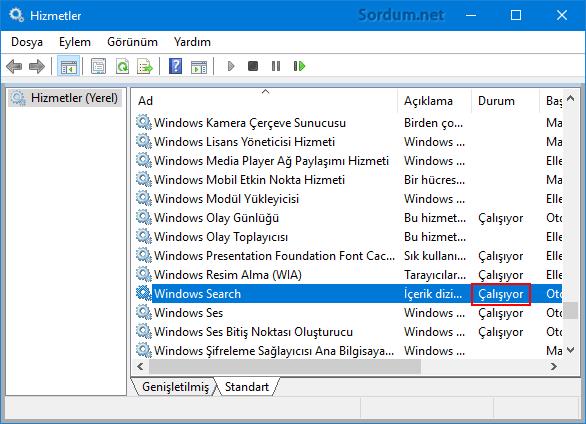 Windows arama hizmet durumu