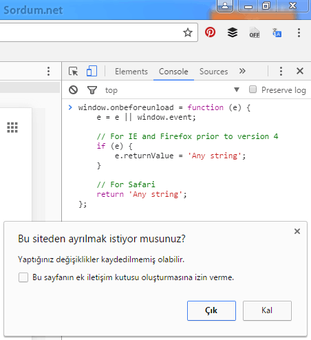 chrome javascript uyarısı