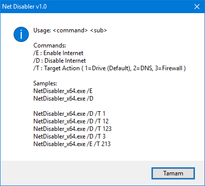 Net Disabler Cmd parameters