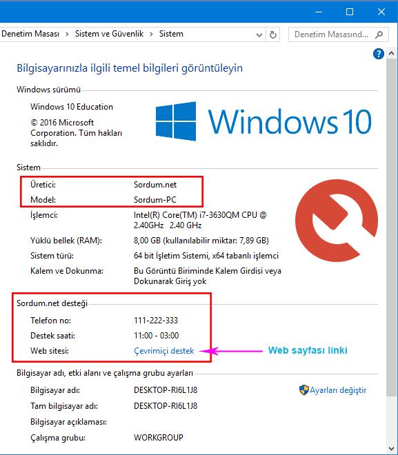 Windows 10 OEM bilgileri editlendi