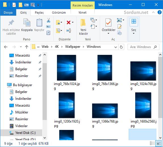 Windows 10 içerisindeki duvarkağıtları