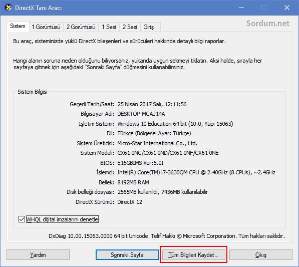 dxdiag ekranından miracasty desteği bulma