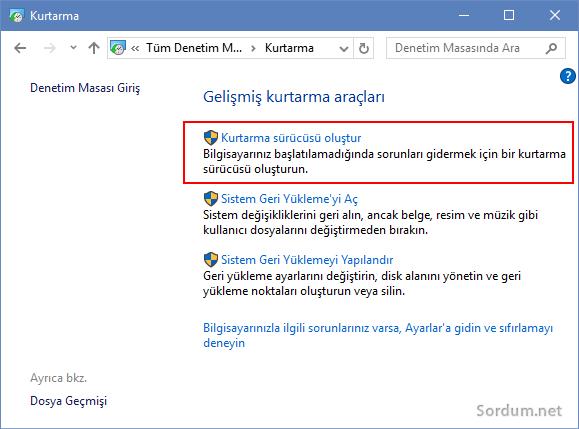 Windows 10 gelişmiş kurtarma araçları