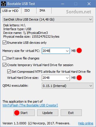 Bootable USB test ram ayarı