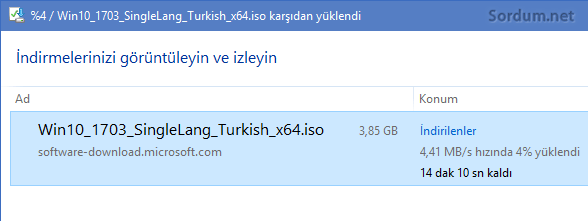 ISO dosyası indiriliyor