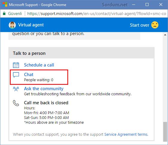 Microsoft ile chat seçeneği