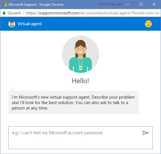 Microsoft ile chat başlat