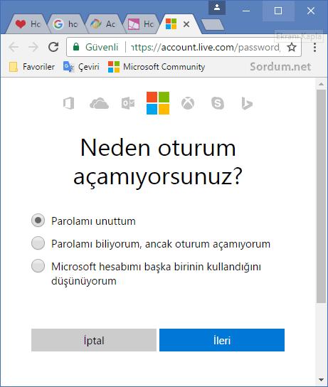 Microsoft hesabında şifremi unuttum sayfası