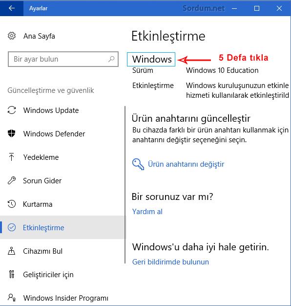 Windows yazısına 5 tık