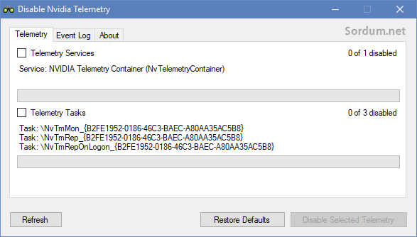 Disable nvidia telemetry bulundu