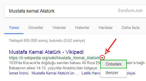 Googlede sayfanın önbelleğe alınmış bir kopyası