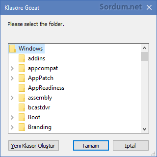 Vbs de klasör seçim ekranı windows