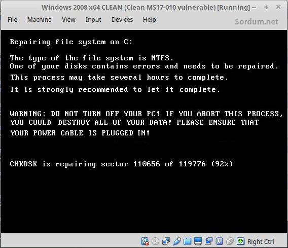 Petya dosyaları şifreliyor