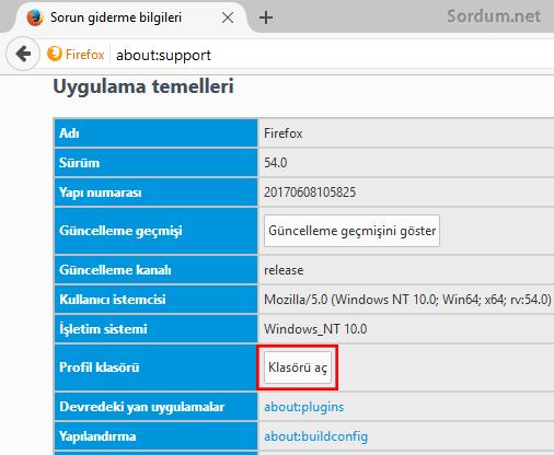 Firefox profil klasörü