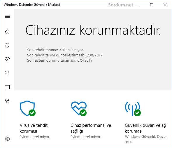 Windows Defender cihazınızı koruyor