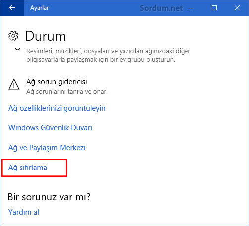 Windows 10 Ağ sıfırlama
