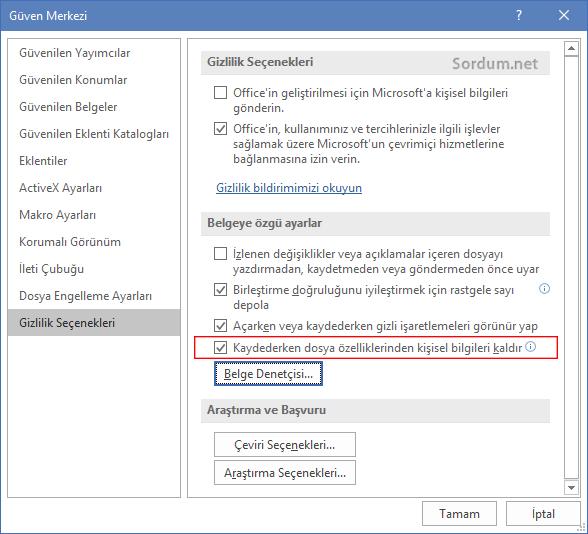 Microsoft word meta verilerini kaydetmesin