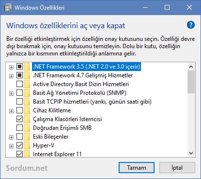 Windows özelliklerini açma kapatma ekranı