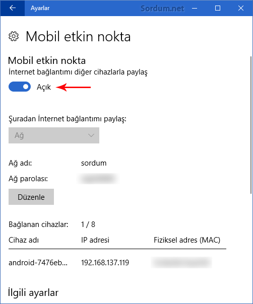 Windows 10 Mobil etkin nokta