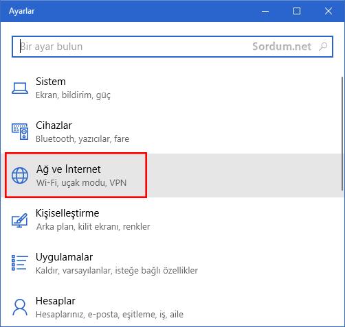 Windows 10 ağ ve internet seçeneği