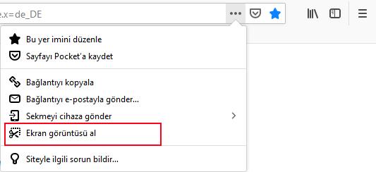Firefox Ekran görüntüsü al aracı