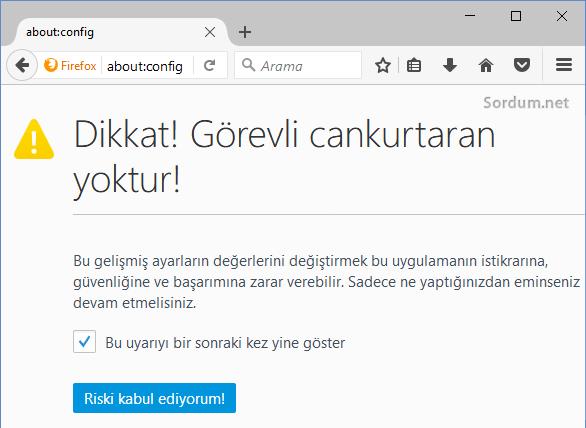 Firefox about:config ekranı