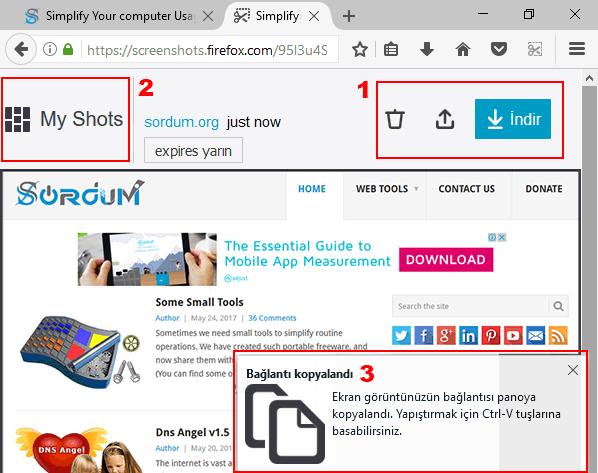 firefox ta bir sayfanın ekran görüntüsünü alma