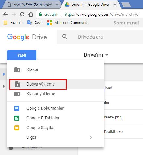 Google Drive a dosya yükleme