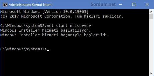 Windows Installer hizmeti başlatıldı