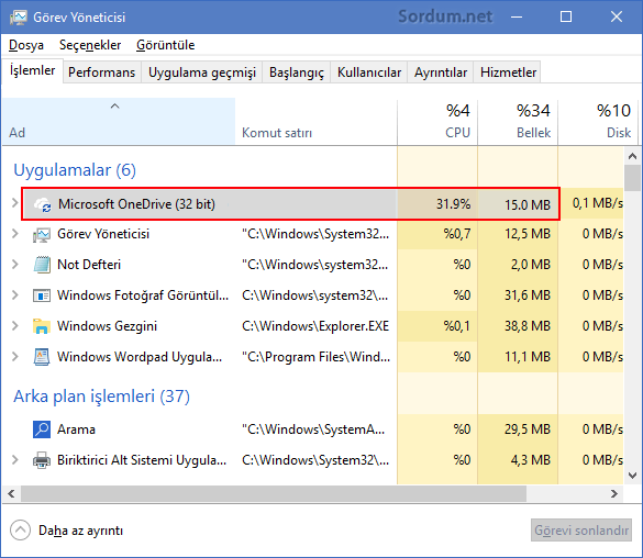 OneDrive yüksek işlemci kullanımı