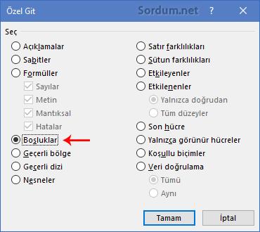 Excel Özel git boşluk seçimi