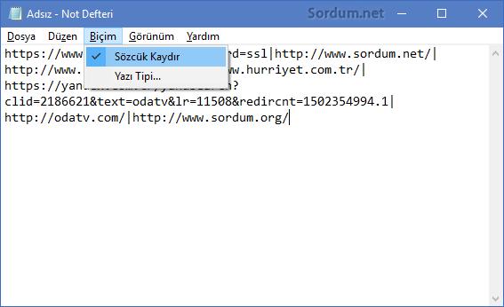 Firefox URL ler not defterinde
