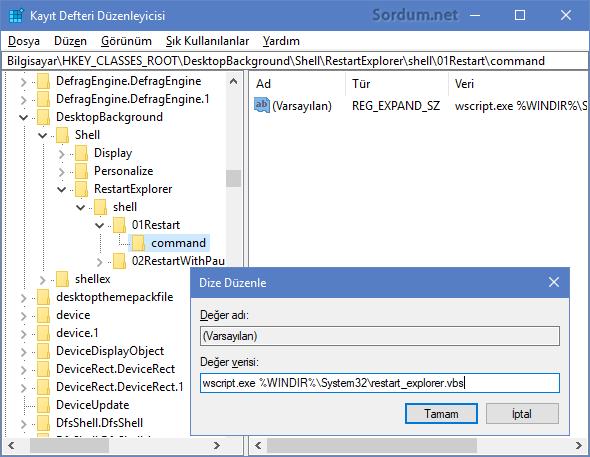 Vbs ile windows gezginini yeniden başlatma