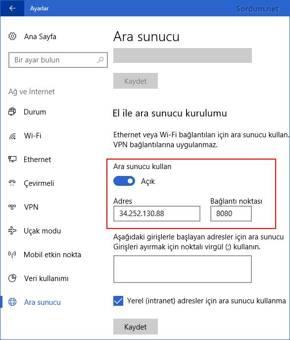 Windows 10 da ara sunucu sıfırlama